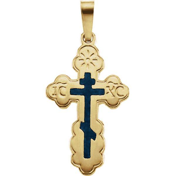 Cweb 14k yellow 19x13mm orthodox cross pendant with blue enamel cweb 14k yellow 19x13mm orthodox cross pendant aloadofball Gallery