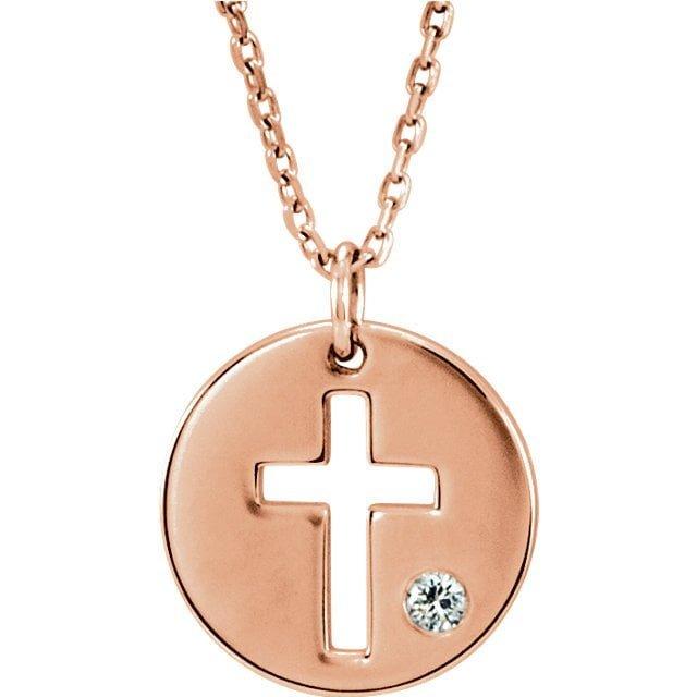 14K White Gold 22.75x15mm Cross Pendant