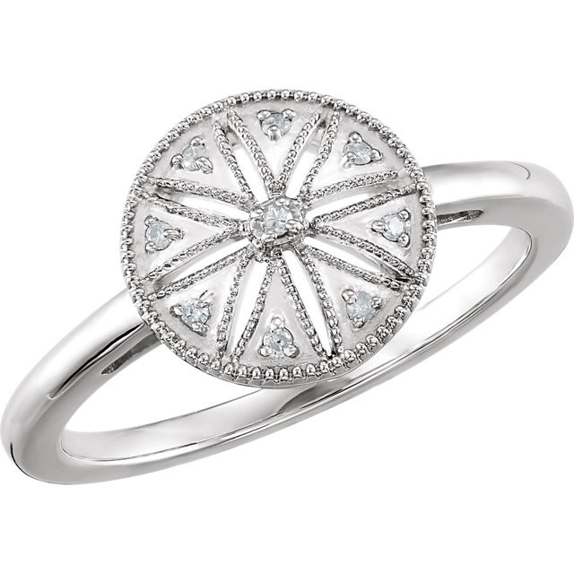 CWEB Sterling Silver .04 CTW Diamond Ring Size 6