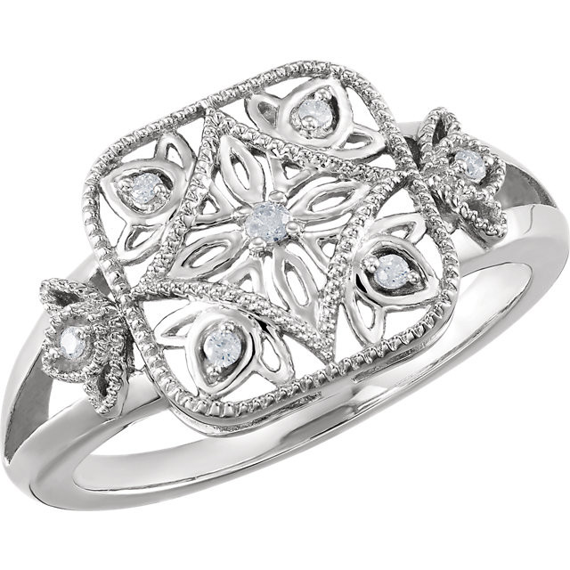 CWEB Sterling Silver .05 CTW Diamond Ring Size 6