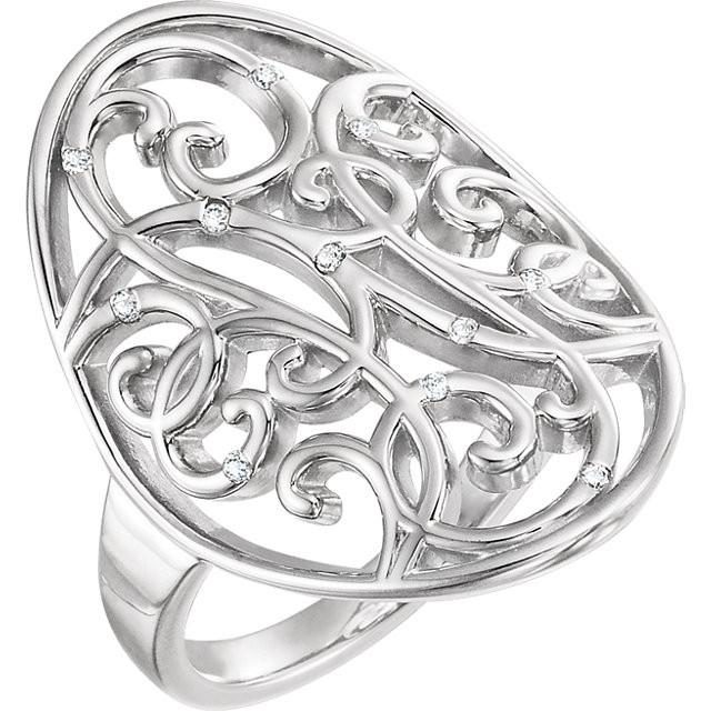 CWEB Sterling Silver .06 CTW Diamond Scroll Bead Blast Ring Size 8