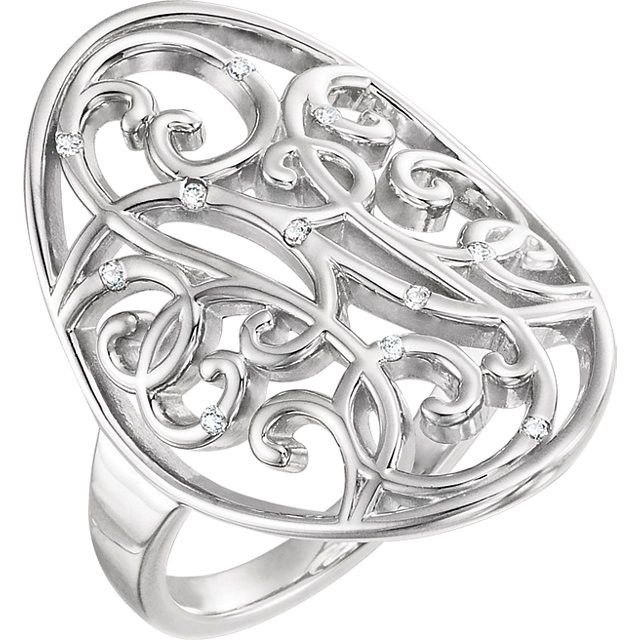 CWEB Sterling Silver .06 CTW Diamond Scroll Bead Blast Ring Size 5