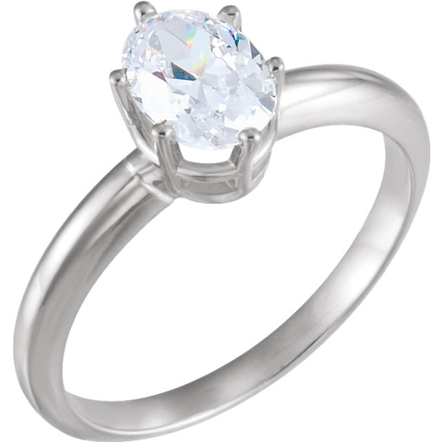 CWEB 14K White Oval Basket Solitaire Engagement Ring