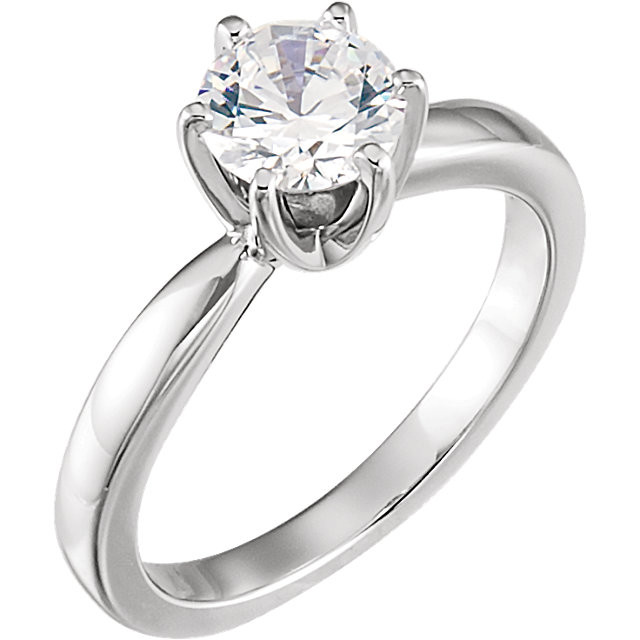 CWEB 14K White 6.5mm Round Tall 6-Prong Solstice Solitaire® Ring Mounting
