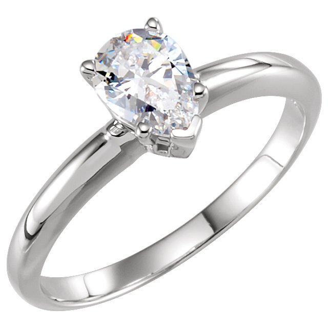 CWEB 14K White 9x6mm Pear 5-Prong Solitaire Ring Mounting