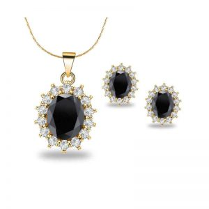 4 Cttw Oval Onyx 18 Inch Necklace And Earrings Set In 18k Gold