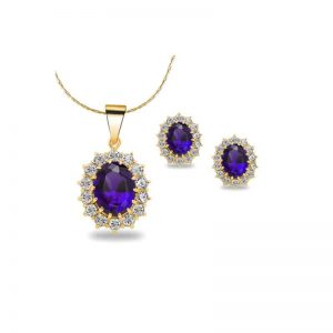 4 Cttw Oval Blue Sapphire 18 Inch Necklace And Earrings Set In 24k Gold