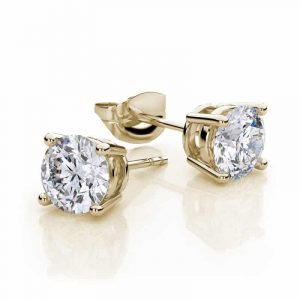 10k Yellow Gold Created White Sapphire 2 Carat Round Stud Earrings