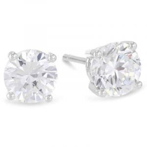 14k White Gold 0.25 Carat Solitaire Diamond Stud Earrings.